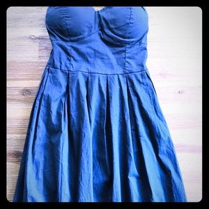 👗Blue strapless dress